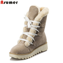 ASUMER size 34-43 Hot women boots round toe platform fur snow boots lace up keep warm footwear Cotton shoes lady ankle boots