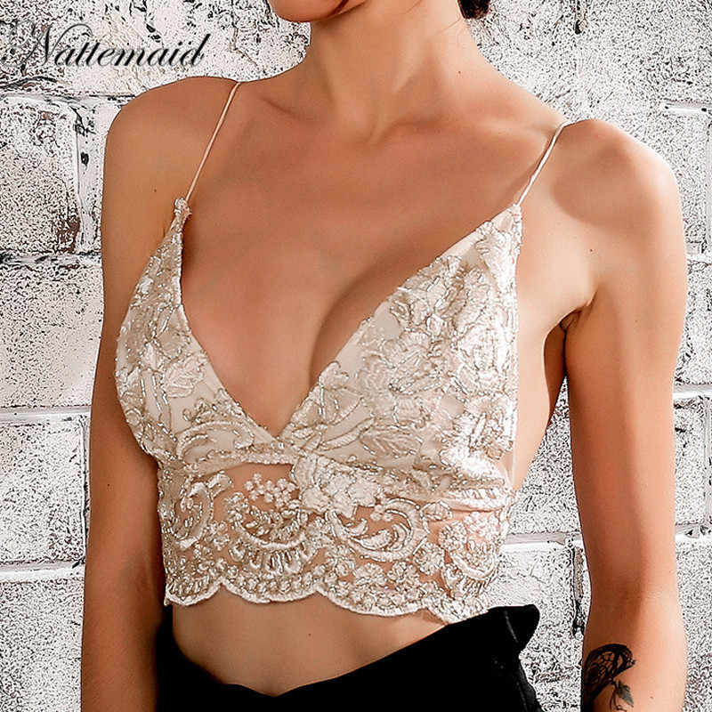 d75284924e4 NATTEMAID lace embroidery Camisole Tank Top Sexy deep v neck Hollow Out  Straps Bustier Crop Top