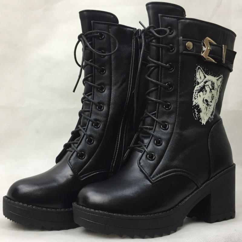 2019 High heeled genuine leather women winter boots thick wool warm women Martin boots Self luminous