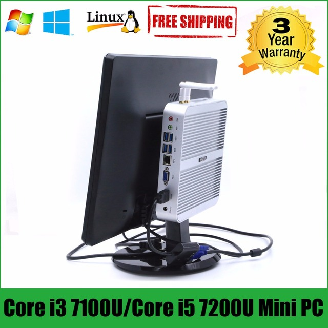 Intel Core i5 7200U minipc i3 7100U HYSTOU Kaby Lake Fanless Mini PC Windows Intel HD Graphics 620 Mini Computer Barebone i5 pc