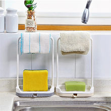 Urijk Kitchen Storage Rack Towel Sponge Drain Racks Rag Dishcloth Hanging Rack Bathroom Soap Holder Sink Desktop Organizer Hot(China)