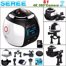 Seree 4K 360 Degree Action Video Camera Wifi Mini 2448*2448 16MP Ultra HD Panorama Camera 3D Waterproof Sport Driving VR Camera