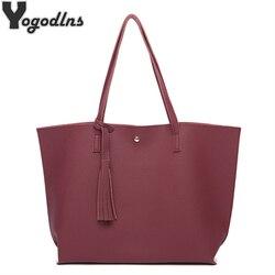 Женские сумки-мессенджеры кожаные повседневные сумки с кисточкой женские дизайнерские сумки винтажные Большие размеры сумка на плечо высо...