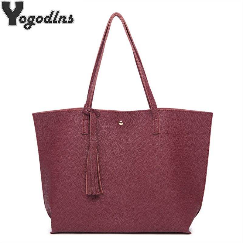 Women Messenger Bags Leather Casual Tassel Handbags Female Designer Bag Vintage Big Size Tote Shoulder Bag High Quality Bolsos