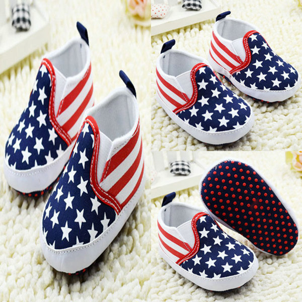 Toddler White Star Print Crib Shoes Kids Anti-Slip Shoes Soft Sole Prewalker