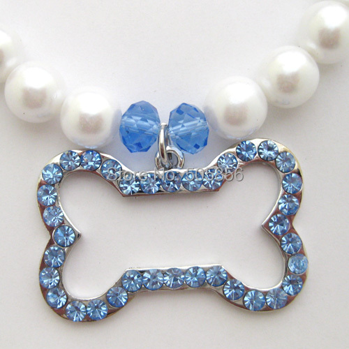 Dog pearls necklace collar with rhinestones Pink/Blue bone charm,pet jewelry/S M L