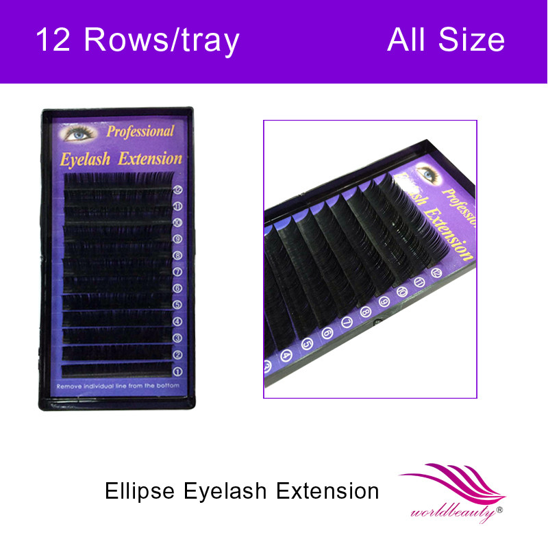 New type 5 trays/lot Ellipse Elliptical/ Flat Eyelash Extension Soft Silk Eyelashes Natural J/B/C/D Curl