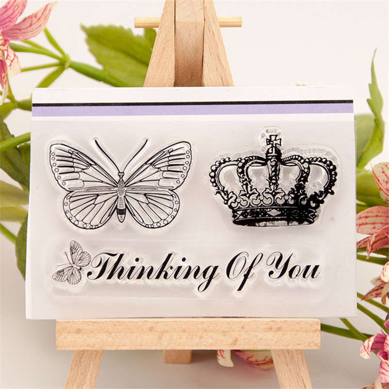 crown and butterfly design for diy clear stamp scrapbooking photo album transparent stamp wedding gift paper card craft RM-218 lovely bear and star design clear transparent stamp rubber stamp for diy scrapbooking paper card photo album decor rz 037