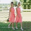 Short Halter Coral Bridesmaid Dress Cheap Knee Length Chiffon Bridesmaid Dresses With Ribbon Short Bridesmaids Gowns Dress B11