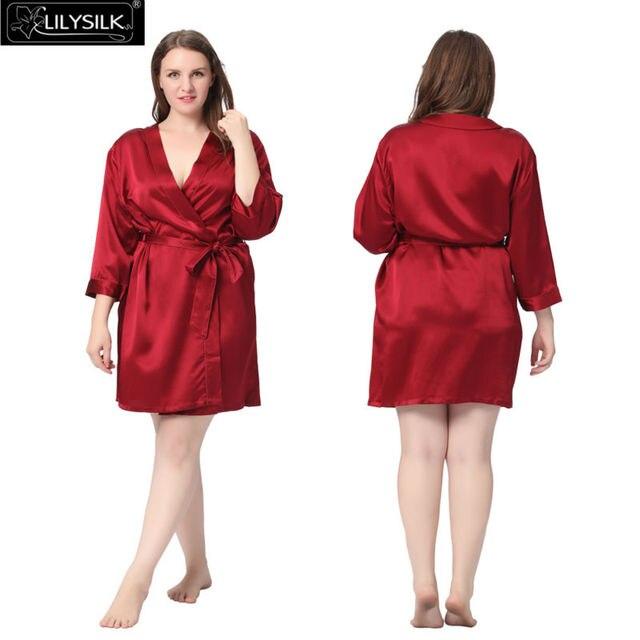 Lilysilk 100% Pure Silk Robe Women Plus Size 22 Momme Short Classic Style Bathrobe Luxurious Pure Bridesmaid 5XL Oversized
