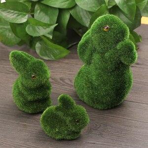Handmade Artificial Turf Grass Animal Easter Rabbit Home Office Ornament Novelty Room Office Decor Easter Bunny Handiwork Gift(China)