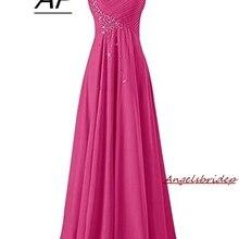 Модное вечернее платье на одно плечо с кристаллами, длинное шифоновое милое платье Vestidos De Fiesta Largos Elegantes вечерние платья