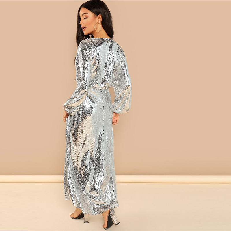 3f3c108b8e680 SHEIN Going Out Silver Bishop Sleeve Wrap Front Sequin V Neck Fit and Flare  Long Sleeve Dress Elegant Dresses Women Autumn Dress