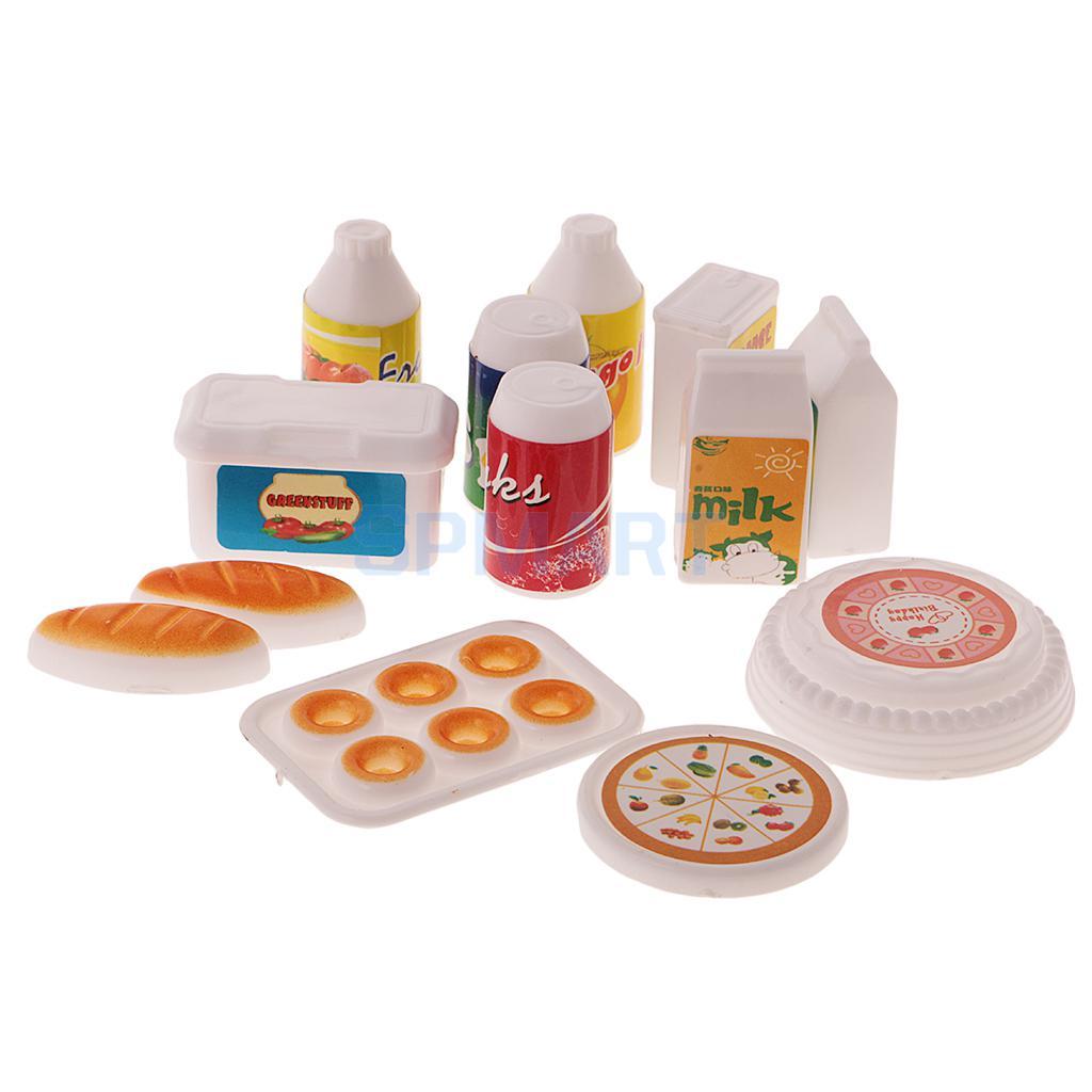 12Pcs Dollhouse Miniature Kitchen Dining Juice Milk Drinks Food Set Dolls Accessories Pl ...