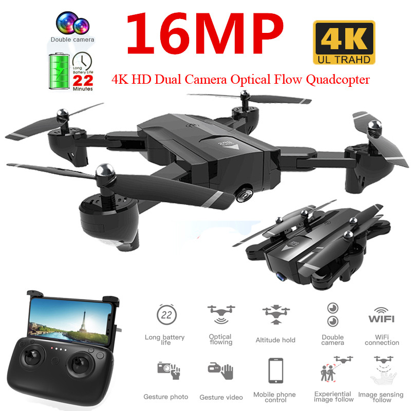 Profissional 4K / 720P HD Dual Camera WiFi FPV Drone Optical Flow Aerial Video RC Quadcopter Aircraft Quadrocopter <font><b>Toys</b></font> image