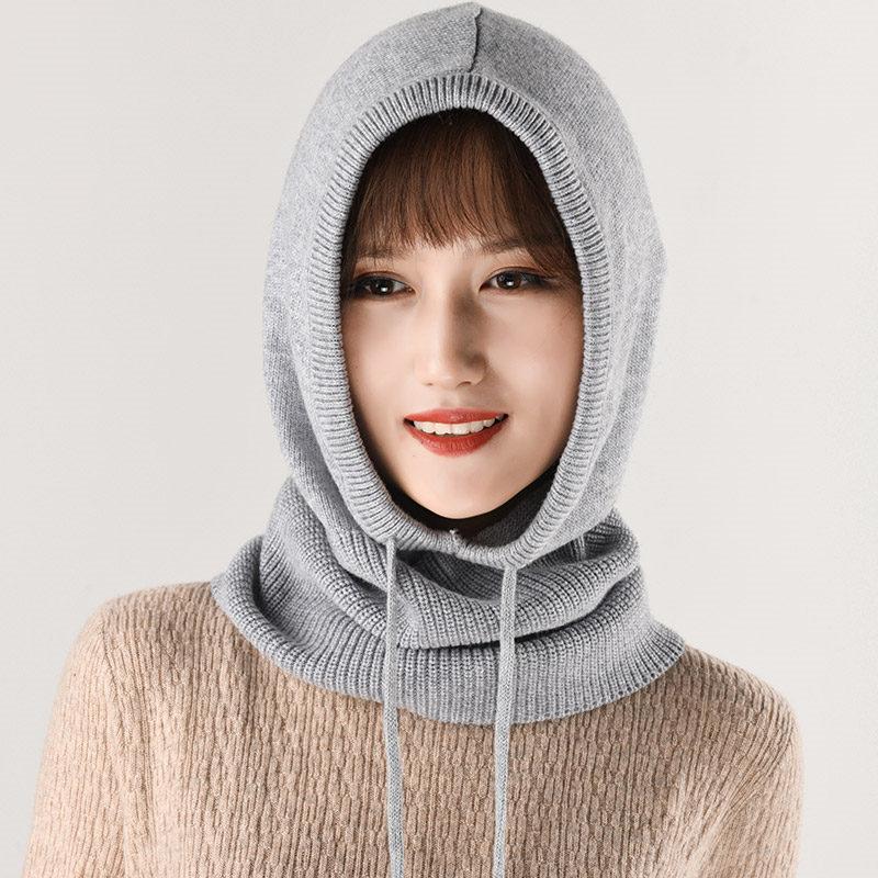 2019 Women's Winter Multi-functional Knitted Cashmere Wool Skullies Hat Collar Set Beanies Hats Female Hooded Earmuffs Scarf Cap