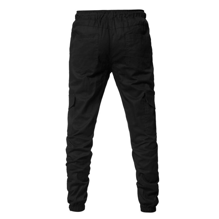 HTB1MASfCgmTBuNjy1Xbq6yMrVXaG Men's Pants 2018 Fashion Men's Pure Color Bandage Casual Loose Sweatpants Drawstring Pant       july22