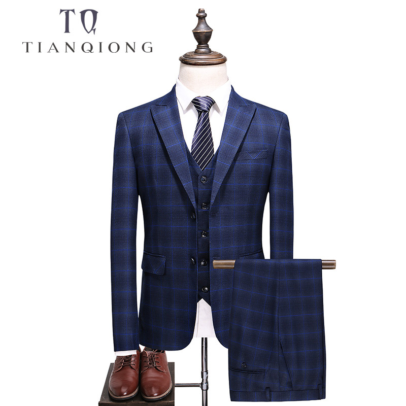 TIAN QIONG  Brand Men Suit 2018 Slim Fit Mens Plaid Suits 3 Pieces Groom Wedding Suit High Quality Men's Suits With Pants