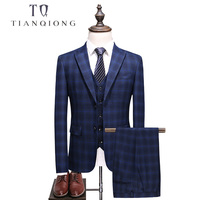 TIAN QIONG Brand Men Suit 2018 Slim Fit Mens Plaid Suits 3 Pieces Groom Wedding Suit High Quality Men's Suits With Pants