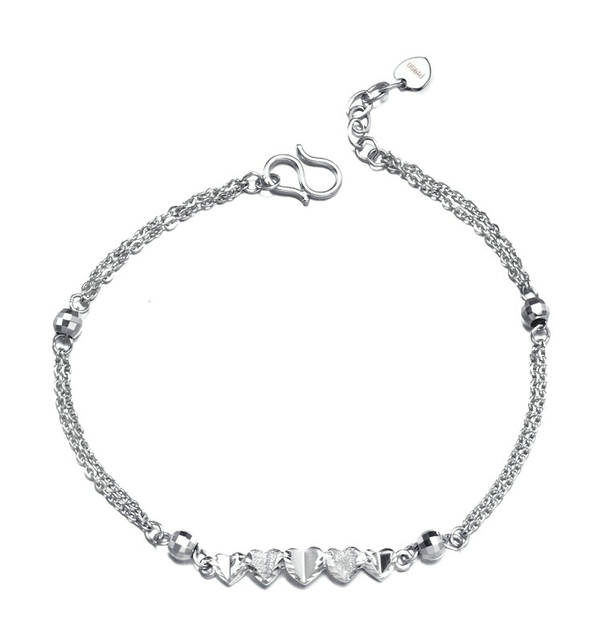 Romantic PT950 Platinum White Real Solid Gold Heart Bead Bracelets Bangles for Women Girl Female Fine Wedding Jewelry Gift 1