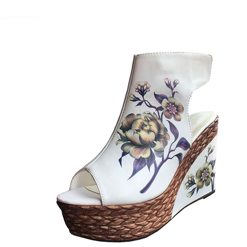 High heel sandals women summer cool new fund wedge bottom thick waterproof boots fish mouth shoes national wind short boots women sandals 2017 summer gauze high heeled shoes lace fish mouth women sandals fashion summer ankle boots s069