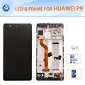 Para huawei p9 lcd display + touch screen + glass + conjunto del bastidor delantero calidad original 5.2 pulgadas de pantalla de oro negro herramientas blancos + + film
