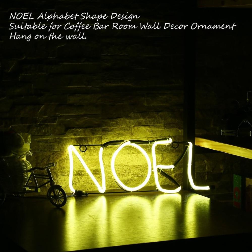 Icoco Neon Sign Light Noel Alphabet Shape Design Room Wall