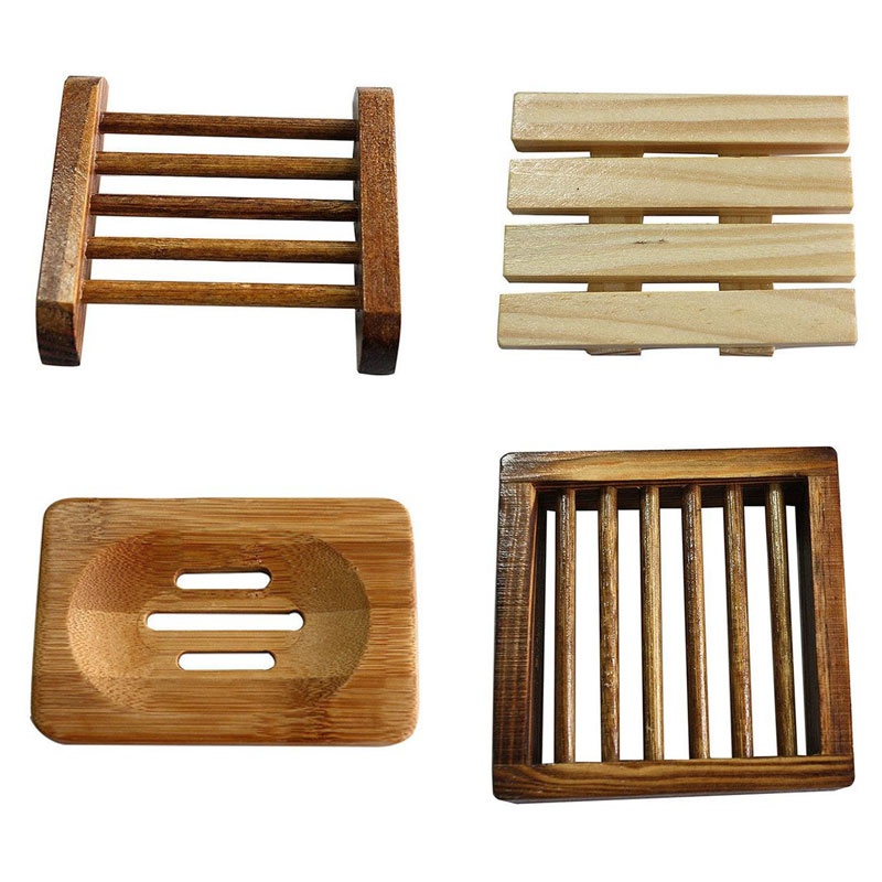 Wooden 1PCS 10x10cm Soap Case Dish Dishes Container Shower Room Dispensers Square Wood Soap Holder High Quality