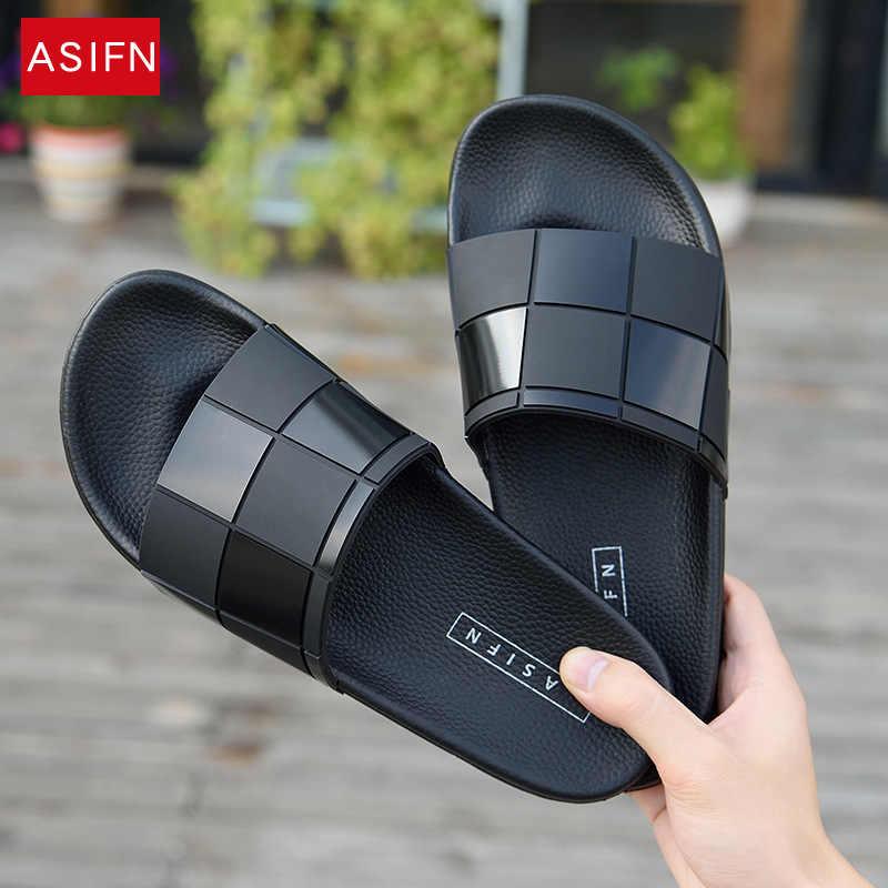 ASIFN 男性スリッパモザイク格子フリップスライド男性タイプカップルビーチ靴ホーム Zapatos Mujer 卸売