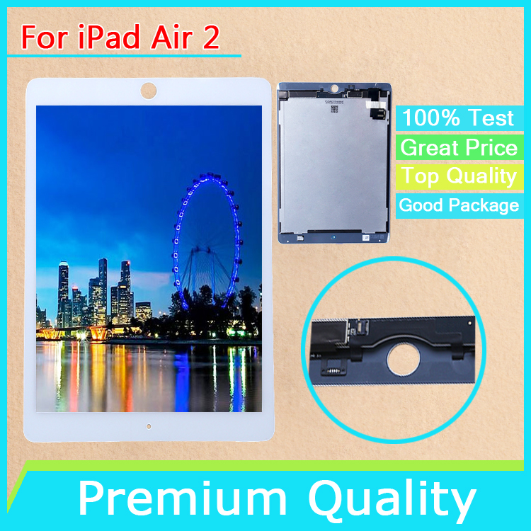 No Bubbles For iPad Air 2 iPad 6 Full LCD Display Monitor Touch Screen Digitizer Assembly