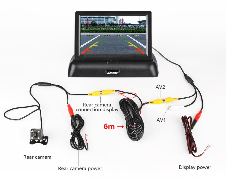 """Jansite 4,3 """"monitor de coche TFT LCD cámara de visión trasera. 16"""
