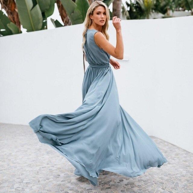 7ae69096e15b5 US $16.87 30% OFF Zmvkgsoa Boho Style Maxi Long Dress Women Summer Loose  High Spilt Sexy Party Dresses V Neck Femme Vestido De Robe Femme Y10146-in  ...