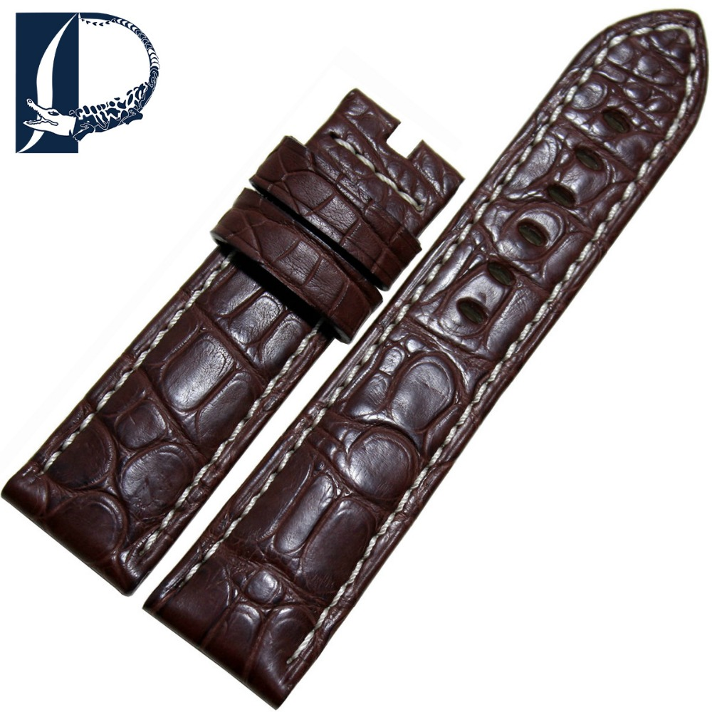 Pesno Brown with White Stitching Luxury Alligator Leather Beautiful Grain 22mm Men Genuine Watch Strap for Panerai