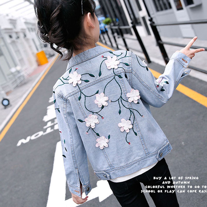 3D Flowers Kids Denim Jackets for Big Girls Embroidered Jeans Coats Clothes Children Fashion 2018 Autumn Tops Outwears Clothing 2 14y children clothing spring 2018 big girl denim jackets children jeans coats kids coats for girls outerwear kids clothes tops