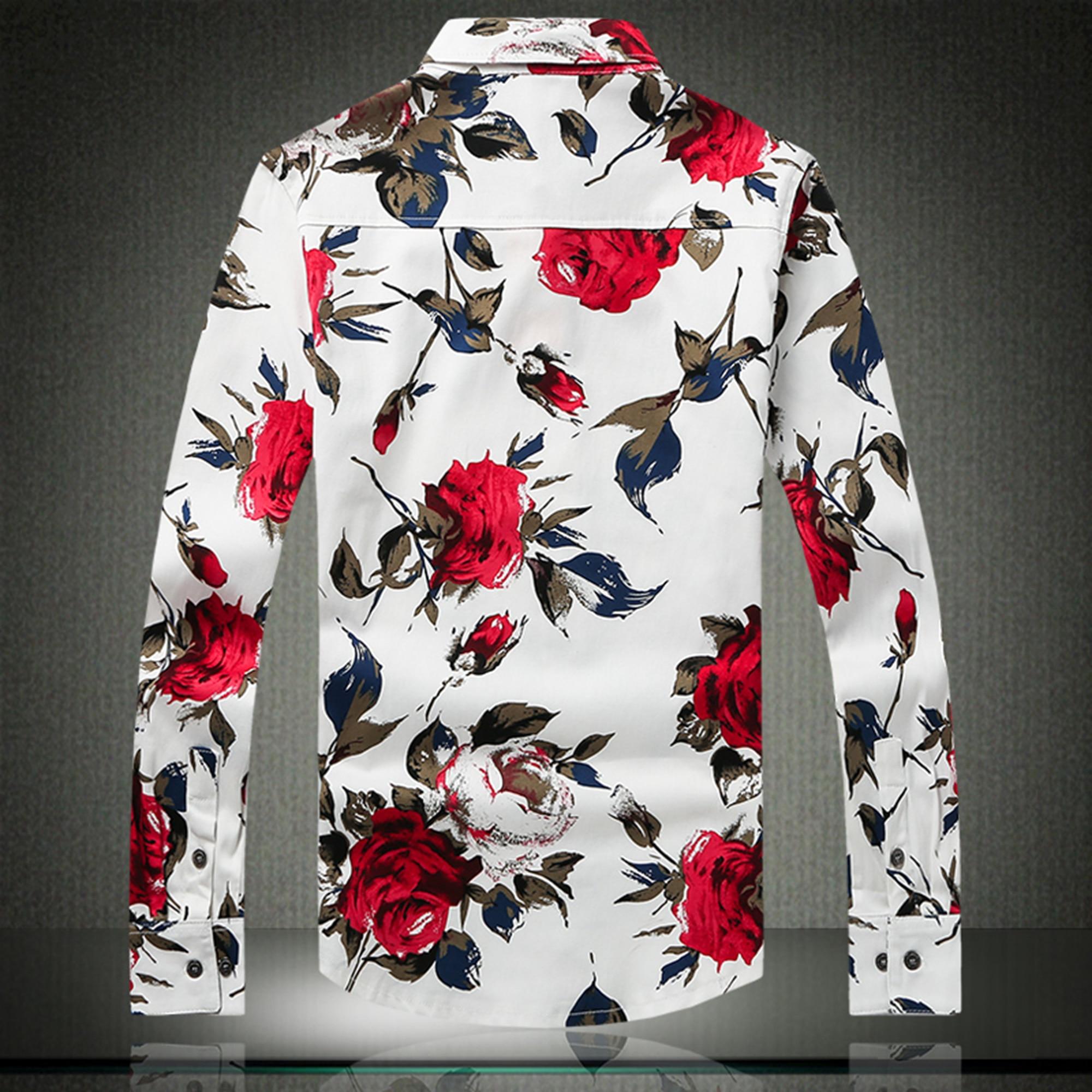 Freizeithemd für Männer Rote Blumenmarke Bedruckte Hemden Modehemd - Herrenbekleidung - Foto 4