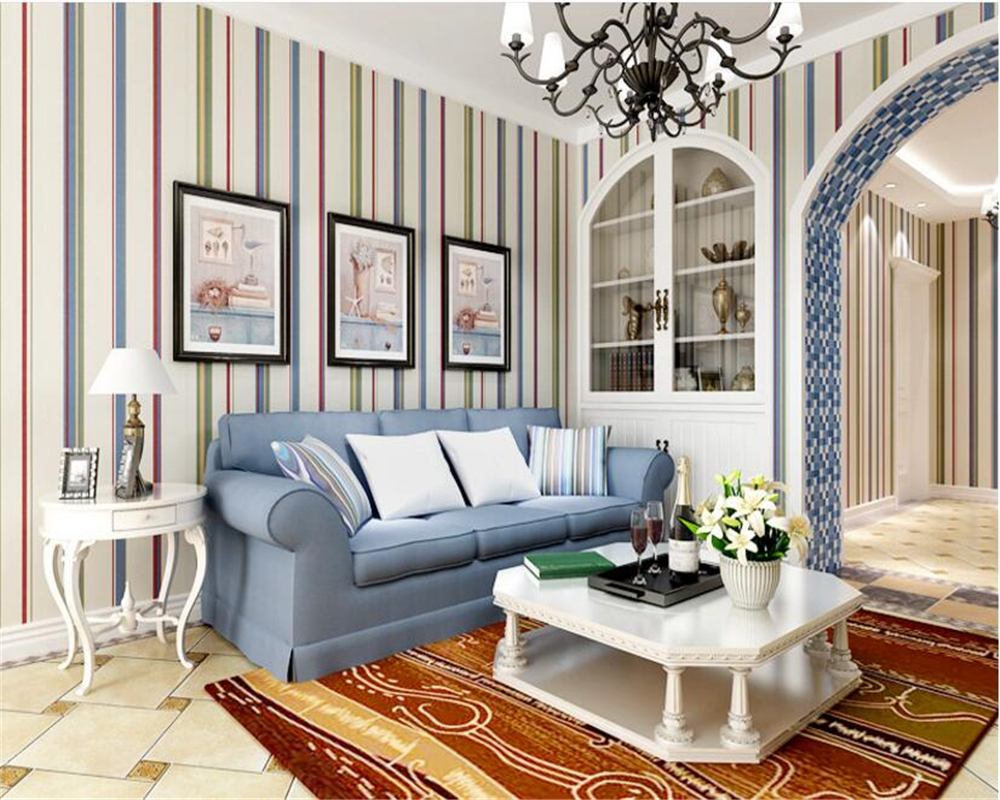 bedroom striped background living vertical paper wood papel roll trading beibehang mediterranean pure children
