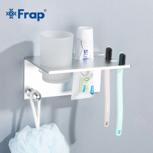 цена на Frap Hot Sale Space Wall Mount Aluminum Bathroom Shelf Toothbrush Toiletries Multi-function Bathroom Rack Shelf With Cup Y18081