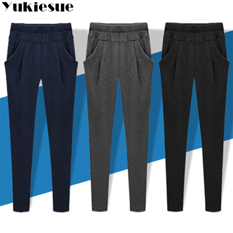 High quality harem   pants     capri   women 2018 winter high waist elastic sports female trousers women pantalon femme Plus size mujer
