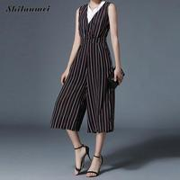 Wide Leg Pants Women Jumpsuits Sashes Pleated Elastic Waist Rompers Elegant Striped High Waist Overalls Summer