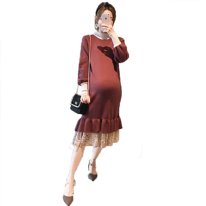 2019 Fashion Pregnant Women Long Sleeve Knit Nursing Dress Lace Patchwork Maternity Sweater Dress Loose Pregnancy Clothing Q2782019 Fashion Pregnant Women Long Sleeve Knit Nursing Dress Lace Patchwork Maternity Sweater Dress Loose Pregnancy Clothing Q278