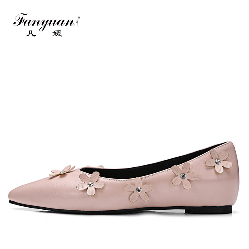 Fanyuan Womens Shoes Flats Elegant Flower Pointed Toe Women Flat Dress Shoes Casual Bow Slip-On Flat Ladies Boat Shoes Pink cresfimix women cute spring summer slip on flat shoes with pearl female casual street flats lady fashion pointed toe shoes
