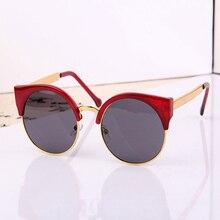 2016 New Fashion Retro Designer Women Round Circle Glasses Cat Eye Semi-Rimless Vintage Sunglasses Goggles Oculos de sol