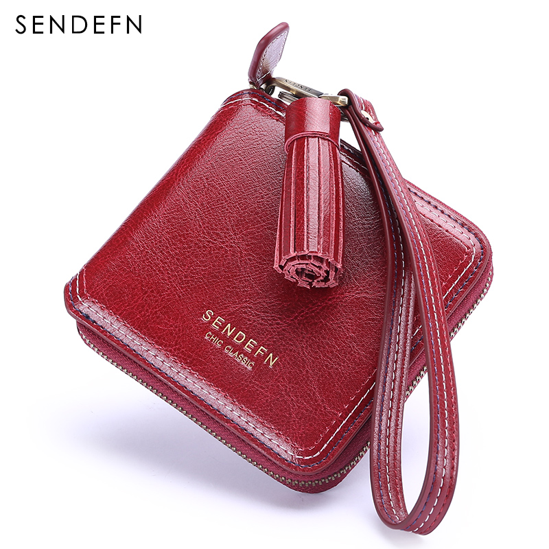 Sendefn Women Leather Wallets Grils Mini Purse 2018 New Lady Small Wallet Coin Pocket Female Short Purses For Money/Card Holder simline fashion genuine leather real cowhide women lady short slim wallet wallets purse card holder zipper coin pocket ladies
