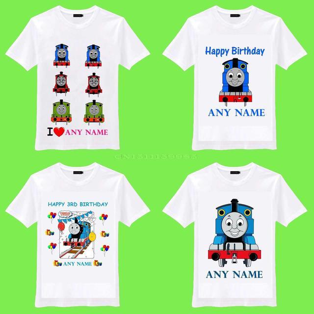 Free Shipping 2015 New THOMAS THE TRAIN TANK ENGINE Personalized Name Kids Birthday Love Gift O Neck Camiseta Unisex T Shirt