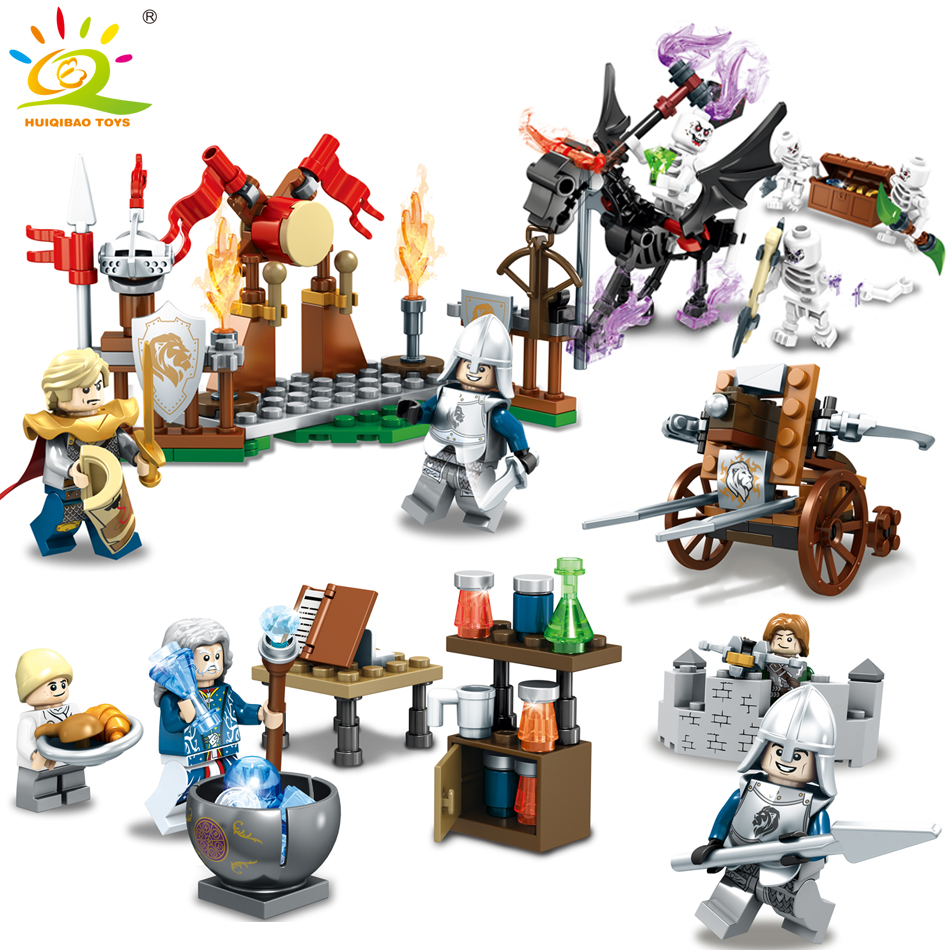 HUIQIBAO TOYS 260PCS Knights Soldiers Weapon Building Blocks Educational Toys For Children Compatible Legoed City Figures Bricks