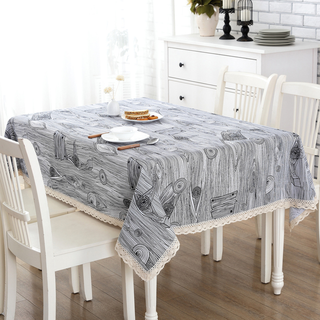 Cotton And Linen Rough Wood Grain Table Cloth Fabric Pastoral Small Fresh Coffee  Table Round Table