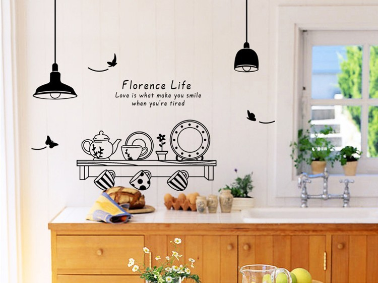 Free Shipping Florence Life Removable Wall Stickers Kitchen Restaurant Tea Cup Cupboard Decorative Decals Murals In From Home Garden On