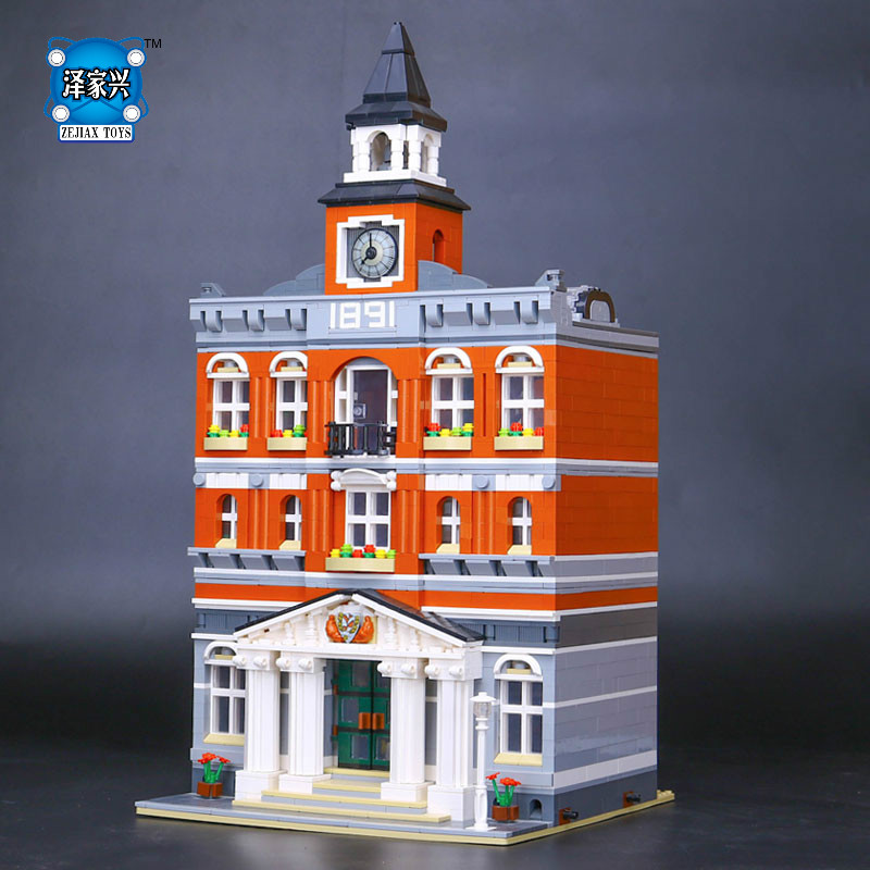 2018 New 2859Pcs The Town Hall Model Building Blocks Kid Figures Toys Kits Compatible Lepins Educational Children Day Gift new lepin 22001 pirate ship imperial warships model building kits block briks toys gift 1717pcs