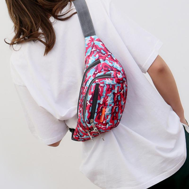 Camouflage Print Shoulder Messenger Handbags Women Men Nylon Waist Fanny Belt Packs Casual Outdoor Sports Crossbody Chest Bags