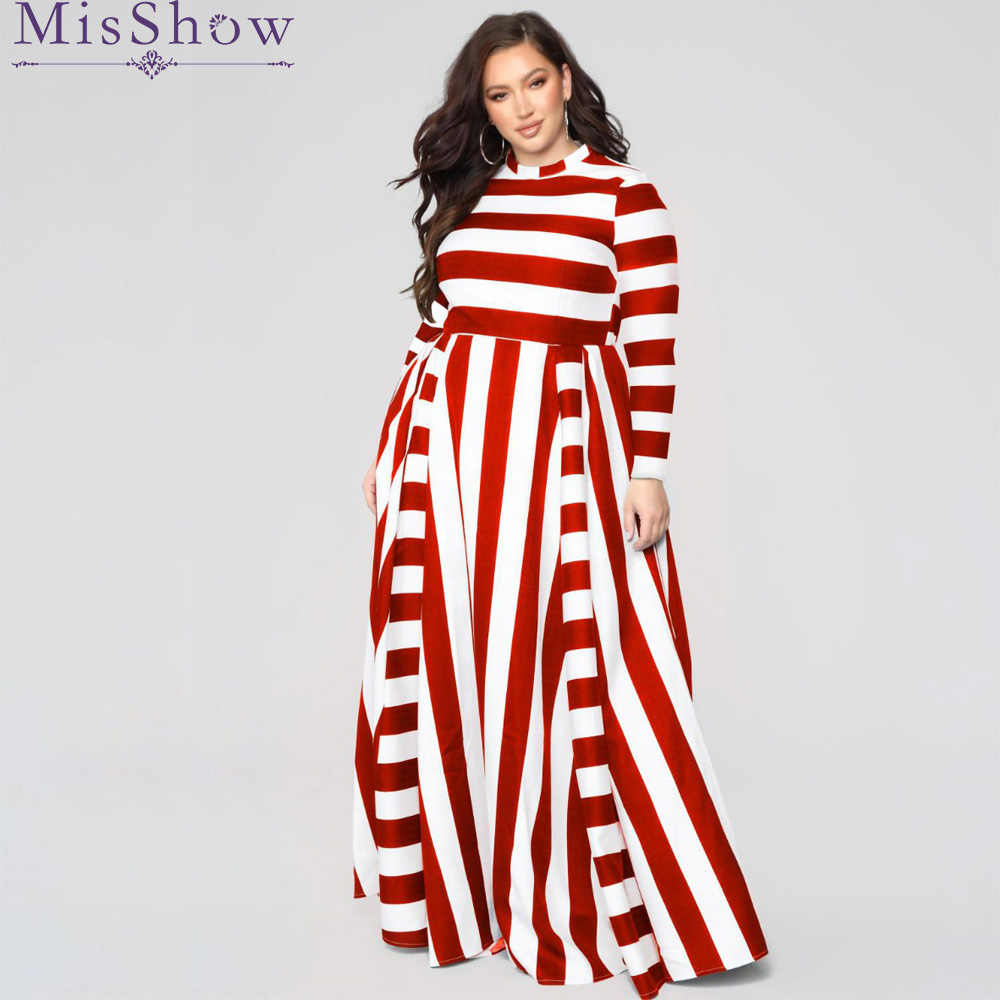 28af4bd8fd5f Detail Feedback Questions about Women Maxi Long Floor Length Casual Dress  Plus Size 3XL 4XL 5XL Ladies 2019 Spring Autumn Striped Party Dresses Female  ...